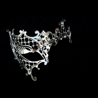 Silver Decorative One Eye Metal Venetian Half Mask (Venetian Eye Mask)