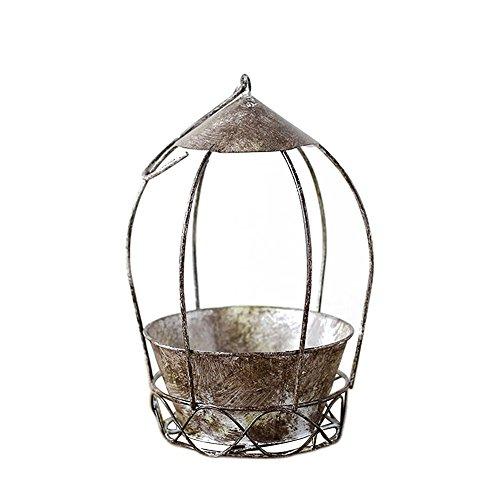 Calunce Old Style Succulent Planter Bird Cage Shape Planter Pot Iron Flower Pot ()