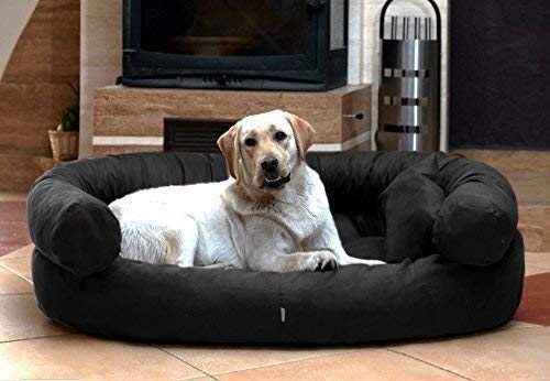 Tierlando J3-v-03 Jeffrey Dog Sofa Dog Bed Velour Size M 80x60 cm Black