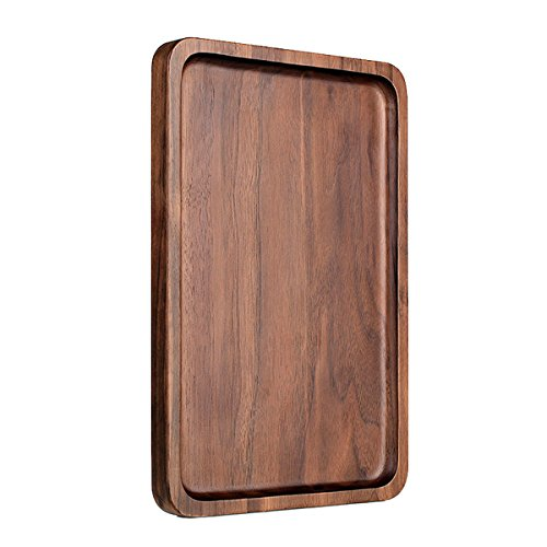 - Pandapark Wooden Serving Trays,Black Walnut Spliced,Rectangle,15.4X11.4 Inches,Groove Holder (Rectangle)