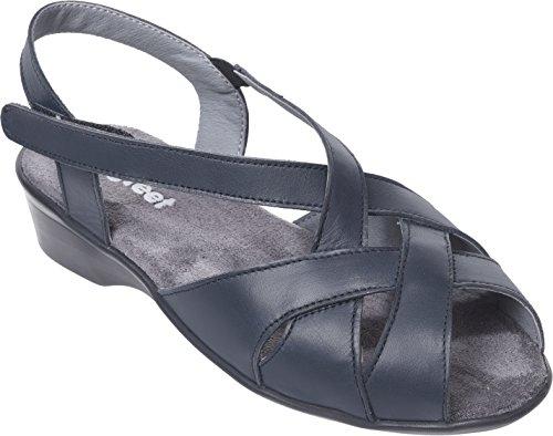 Cosyfeet Zinnia Sandals - Extra Roomy (Eeeee+ Width Fitting) Navy Leather fLJySiSzoP