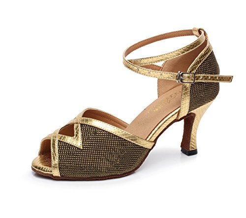 Heels Samba Dance JSHOE Gold EU41 Shoes Shoes UK7 Toe Jazz Tango Women's High Our42 Latin Sandals Closed Salsa Modern Tea heeled7 5cm Zqq4zaErn