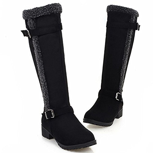 287Black Winter Women FANIMILA Fashion Boots Heel Riding Low Shoes xPnqn74U