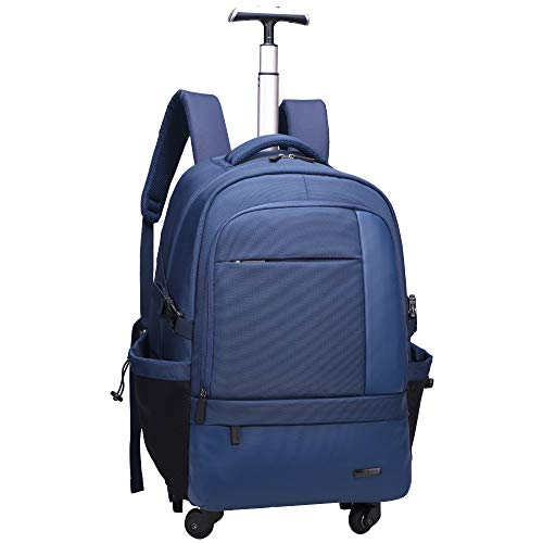 - AOKING 21 Inch Water Resistant Travel School Business Rolling Wheeled Backpack with Laptop Compartment Bag, Carry On Luggage with Spinner Wheels (Blue)