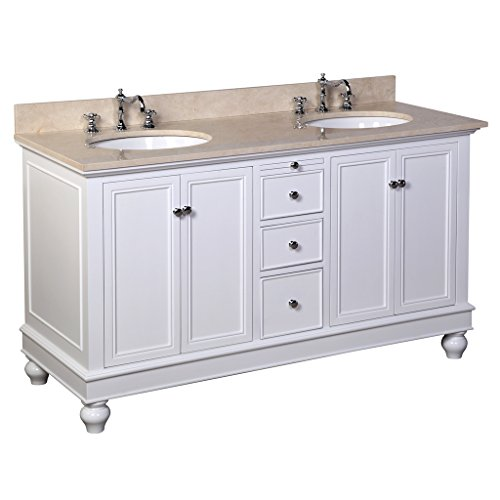 Kitchen Bath Collection KBC222WTMFL Bella Double Sink Bathroom Vanity with Marble Countertop, Cabinet with Soft Close Function and Undermount Ceramic Sink, Crema Marfil/White, 60