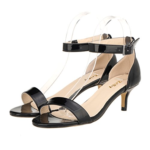 ZriEy Women Sexy Open Toe Ankle Straps Low Heel Sandals Black Size 8 by ZriEy (Image #7)