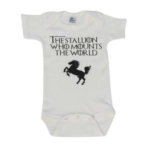 KiddieCo Baby G.O.T. Stallion White Onesie 0-3 months Blk Print