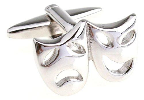 MRCUFF Presentation Gift Box Drama Masks Theater Theatre Pair Cufflinks & Polishing Cloth - Large Drama Masks