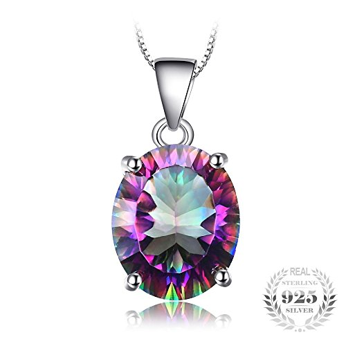 Mystic Rainbow Fire Topaz Concave Oval Pendant Real 925 Sterling Silver For Women Without a Chain