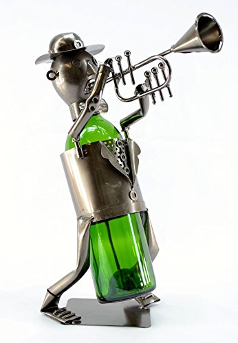 WINE BODIES ZB120 Trumpet Player Metal Bottle Holder, Charcoal