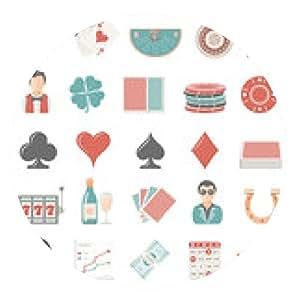 alfombrilla de ratón Los iconos planos - Juegos de azar - ronda - 20cm