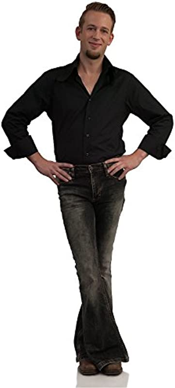 Comycom Stretch Jeans Schlaghose schwarz verwaschen: Odzież