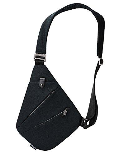 Sling Bag Chest Shoulder Backpack Crossbody Bags for Men Boys Travel Outdoors (Black)