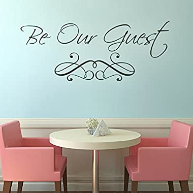 Custom Vinyl Wall Quotes Guest Bedroom Wall Decal Dining Room Stickers Be Our Guest£¨X-Large,Black£©