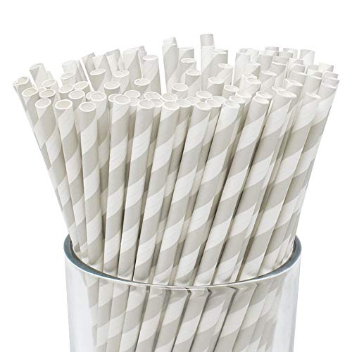 Grey Straw - Just Artifacts 100pcs Premium Biodegradable Striped Paper Straws (Striped, Gray)