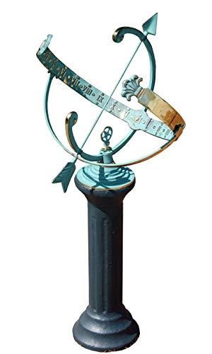 BestNest Rome Star Armillary Sundial and Roman - Pedestal Clock Clock Brass