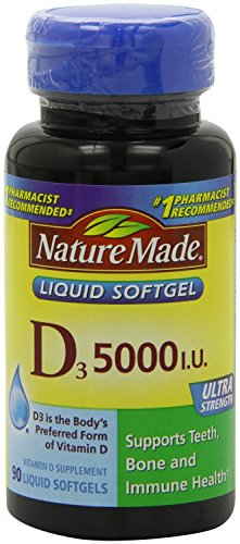 Nature Made D3, Ultra Strength, 5000 IU, Liquid Softgels, 90 ct (Pack of 3) (Nature Made Vitamin D3 5000 Iu compare prices)