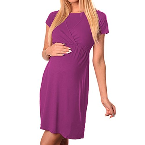 Price comparison product image Ankola Pregnant Dresses, Women's Maternity Nursing Wrap High Waist Dress Short Sleeve Double Layer Dress (M, Hot Pink)