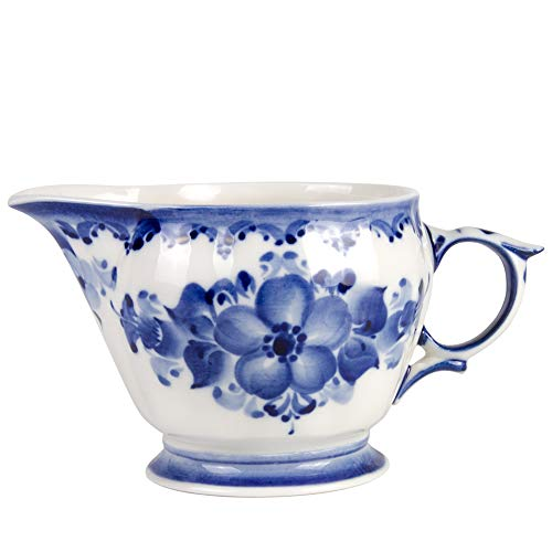 Hand Painted Milk - Hand-painted Liza Milk Jug. Blue and White Porcelain. Gzhel