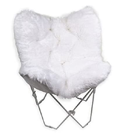 Faux Fur Fake Butterfly Chair White Furniture Boho Decor