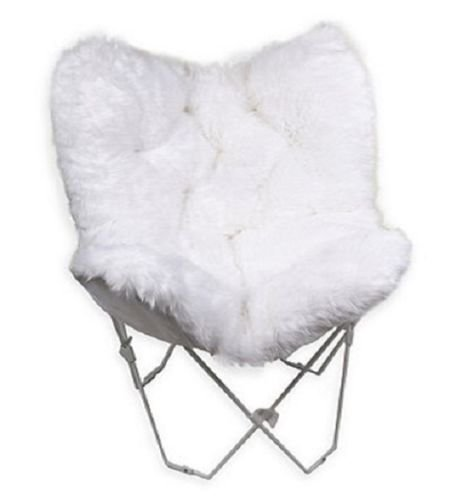 Faux Fur Fake Butterfly Chair White/ Blue Furniture Boho Decor by Nikkycozie