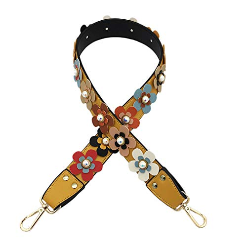 Purse Strap Replacement Leather Shoulder Strap Guitar Camera Crossbody Strap for Handbags Tote Bag Saddle Bag 39 Inch Yellow
