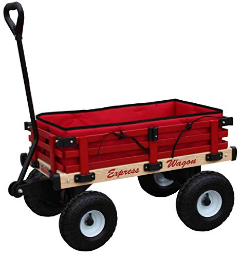 Millside Industries Wooden Express Wagon with 10 Inch Pneumatic Wheels, Red Floor Pad and Surrounding Pads
