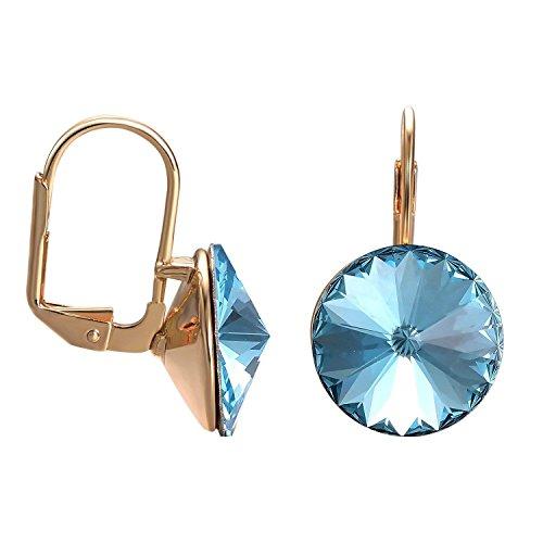 Round Drop Swarovski Crystal Earrings for Women Girls 14K Gold Plated Hook Earrings (Blue)
