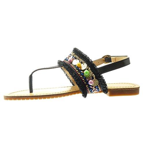 Angkorly - Scarpe da Moda sandali infradito cinturino donna ricamo gioielli fantasia Tacco tacco piatto 1.5 CM - Nero