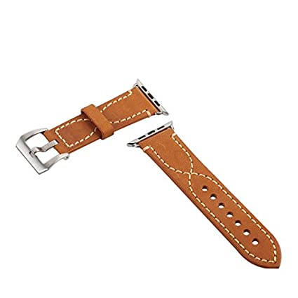 77417732838c Amazon.in  Buy Lention Genuine Leather Watchband Watch Strap with Buckle  for 42mm Apple iWatch-Yellow Online at Low Prices in India