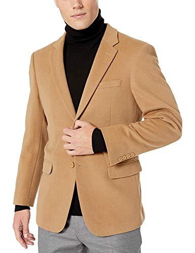 Prontomoda Men's 2 Button Luxury Wool Cashmere Camel Sport Coat 44R