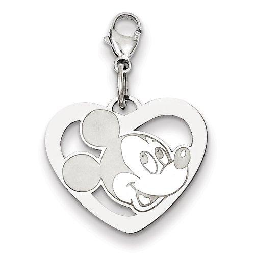 Or blanc 14 carats Cœur Disney Mickey-JewelryWeb Charm avec fermoir mousqueton