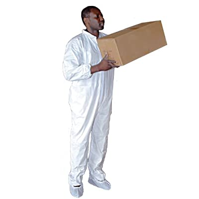 Enviroguard Polypropylene Standard Coverall, Disposable, Elastic Wrists and Open Ankles, White, 30 gram (Case of 25)