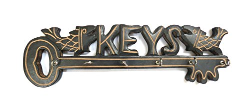 Key Fish Design Wooden Hand Carved Wall Hanging Key Holder with 6 Hooks Home Kitchen Decor, Gift for Christmas or Birthday to Your Loved Ones W-40010