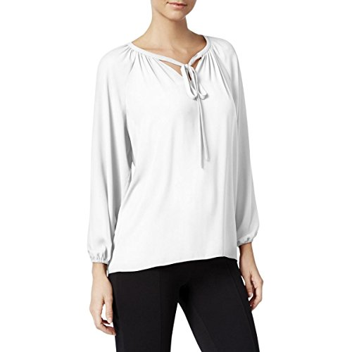 Crepe Tie Neck (Catherine Malandrino Womens Tie-Neck Crepe Peasant Top White L)