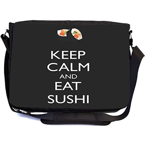 Rikki Knight Keep Calm and eat Sushi Black Color Design Multifunctional Messenger Bag - School Bag - Laptop Bag - with padded insert for School or Work - Includes UKBK Premium coin Purse