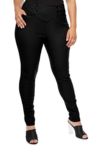 COCOLEGGINGS Women's Plus Size High Wide Waisted Pants with Back Zip Black 2XL Back Zip Stretch Trousers