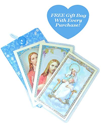 Holy Prayer Card (3-PACK) Gift Set, Mother Mary Virgin Of Divine Providence, 2 Sacred Heart Of Jesus, Laminated - Each With Unique Prayer On Back, Free Gift Bag (Mary Personalized Prayer Card)