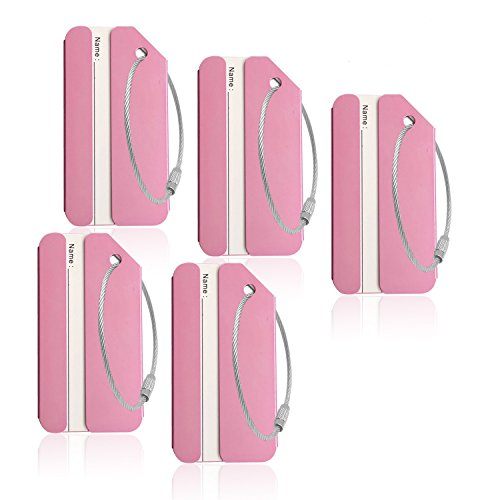Pink Aluminum Luggage Tags Holders for Travel Luggage Baggage Identifier By CPACC
