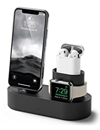 elago Charging Hub [Black] - [3 in 1 Charging Stand] - for Apple Watch Series 4 (2018)/3/2/1; Apple AirPods ; iPhone Xs/XS Max/XR/X/8/8 Plus, and All iPhone Models