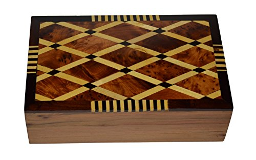 Thuya Wood Moroccan Handcrafted Box with Light Wood Inlaid Inlead Imported Top Satifaction Guarranteed
