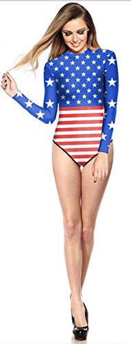 THENICE Mujer Trajes de una pieza Bikini Flag