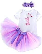 MYZLS Baby Girl Newborn Dress 1st Birthday Party Outfits 3PCS Cotton Romper+ Tutu+ Headband