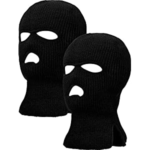 2 Pieces 3 Hole Ski Mask Knitted Face Cover Winter Balaclava Full Face Mask for Winter Outdoor Sports
