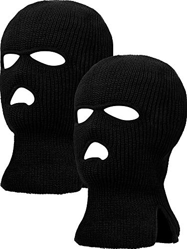 (2 Pieces 3-Hole Ski Mask Knitted Face Cover Winter Balaclava Full Face Mask for Winter Outdoor Sports (Black))