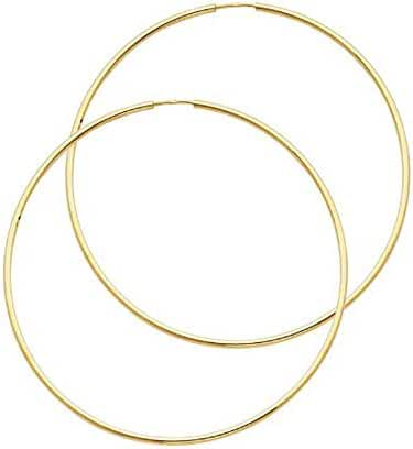 Women's 14k Yellow Gold 1.5mm Wide Classic Endless Hoop Earrings (2