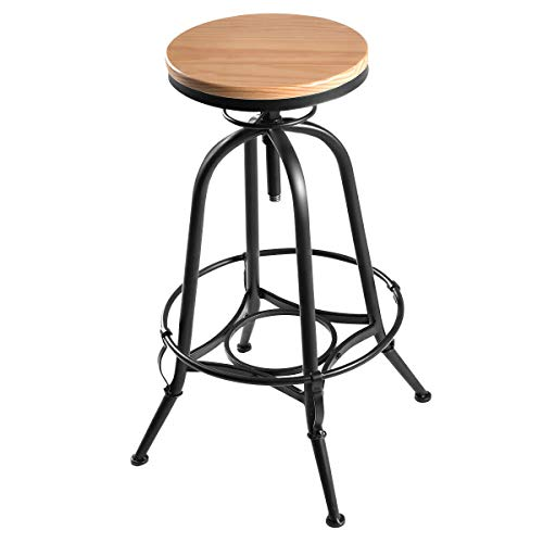 (Giantex Vintage Bar Stool Metal Frame Wood Top Adjustable Height Swivel Industrial)