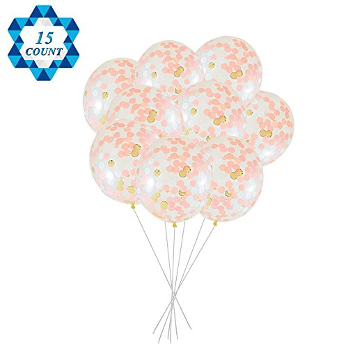 Best Buy! SOTOGO 15 Pieces Confetti Balloons 12 Inches Large Balloons With Golden, Light Pink and Wh...