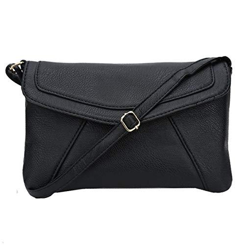 Goodbag Women Soft Leather Flap Envelope Shoulder Bag Solid Color Small Crossbody Bag