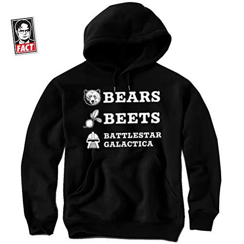 Daft Threads Bears Beets Battlestar Galactica Funny Dwight Office Hoodie Sweatshirt & Sticker Adult Small (Black) ()